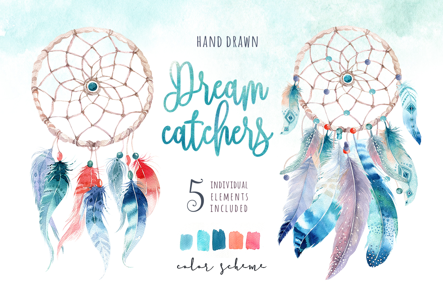 30% off Watercolor dreamcatcher III example image 3