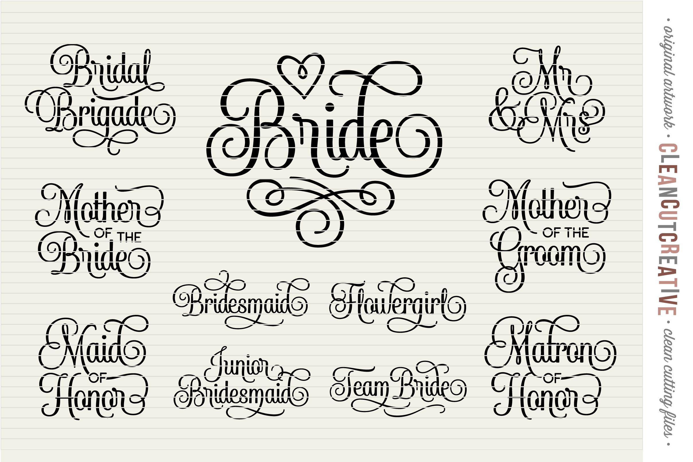 Bridal Party - Wedding Party - SET of 11 - SVG DXF EPS PNG - Cricut & Silhouette - clean cutting files example image 3