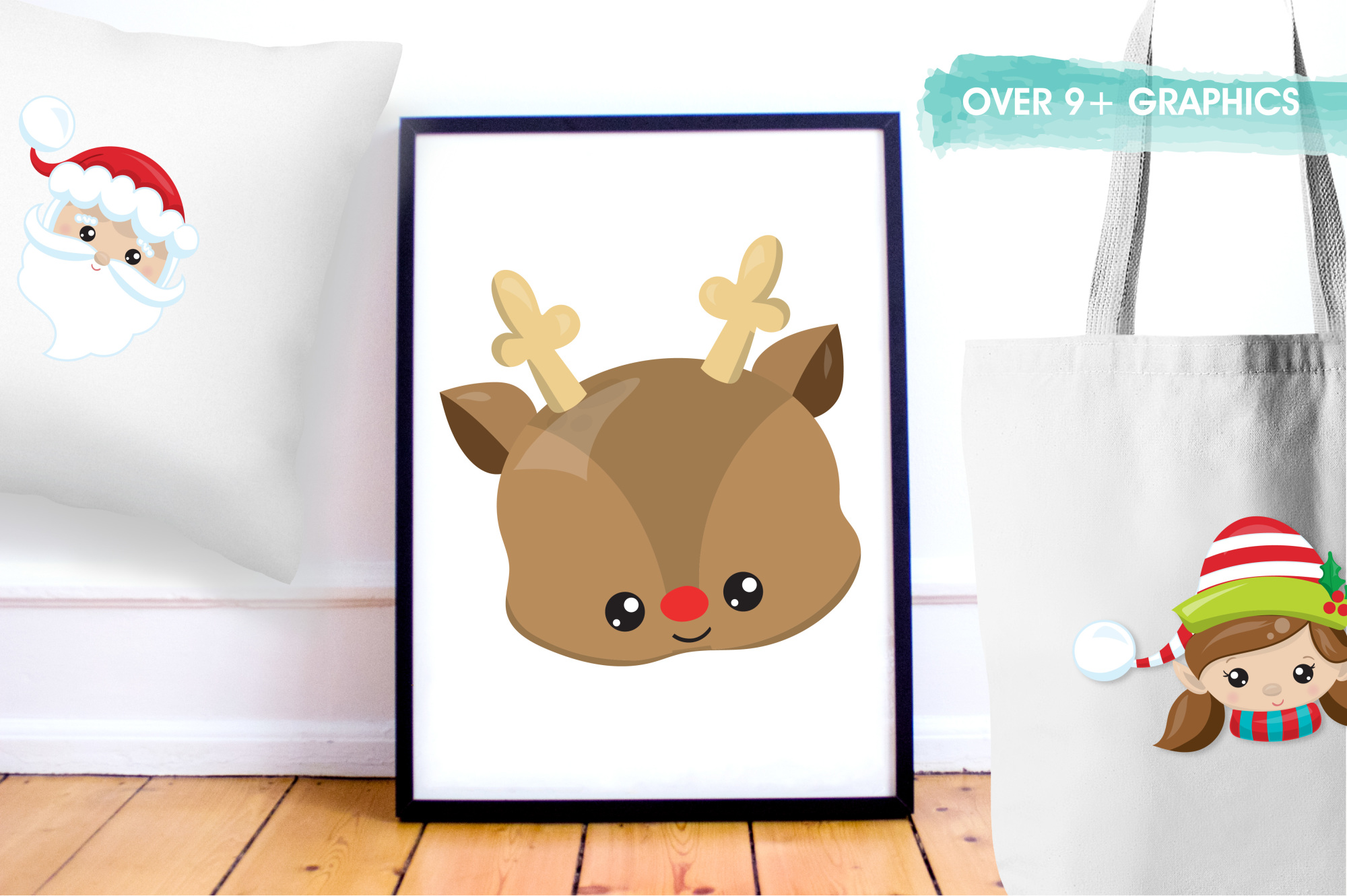Christmas Faces graphics and illustrations example image 5