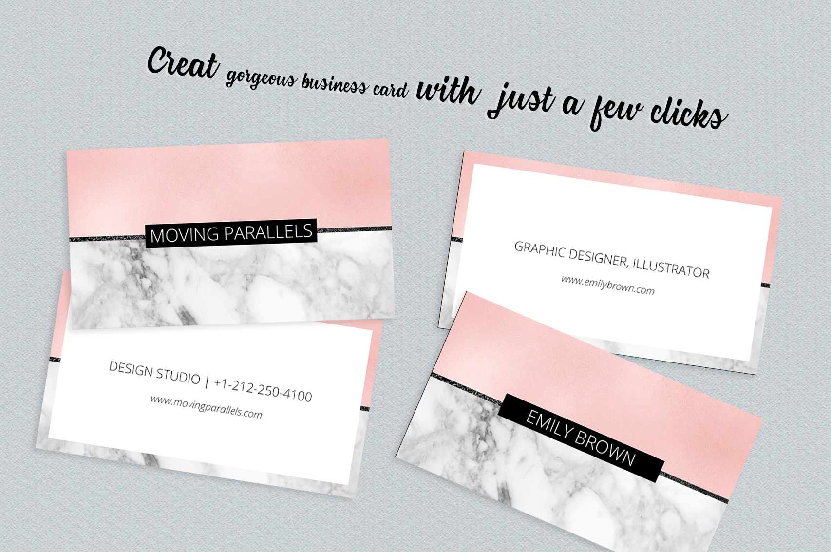 Rose gold pink foil marble business car design bundles rose gold pink foil marble business card example image 3 colourmoves