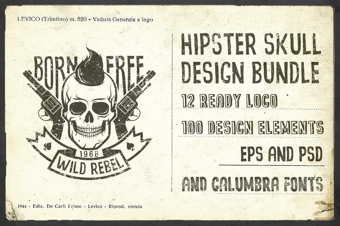 Hipster Skull Design Bundle example image 1