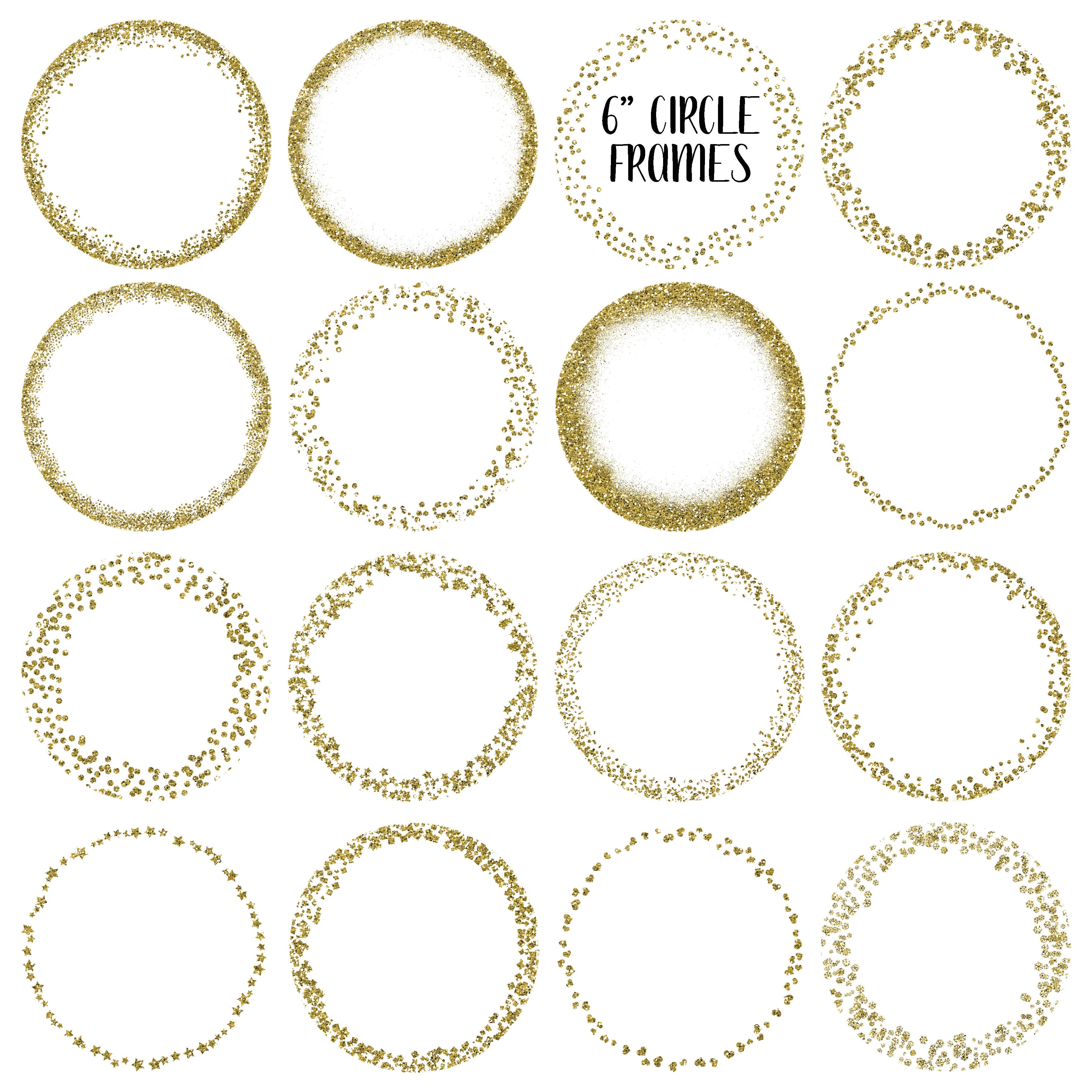 Gold Glitter Frames and Borders PNG Cli | Design Bundles