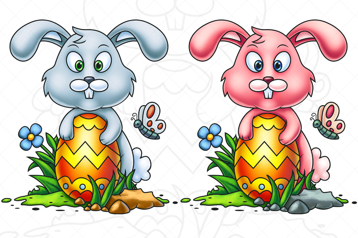 Cute Little Easter Bunny - Digital Painting example image 1