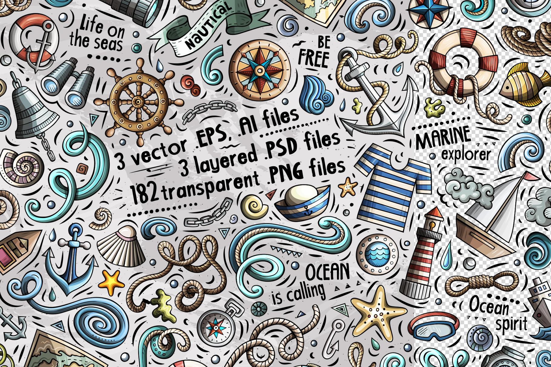 Nautical Cartoon Objects Set example image 2