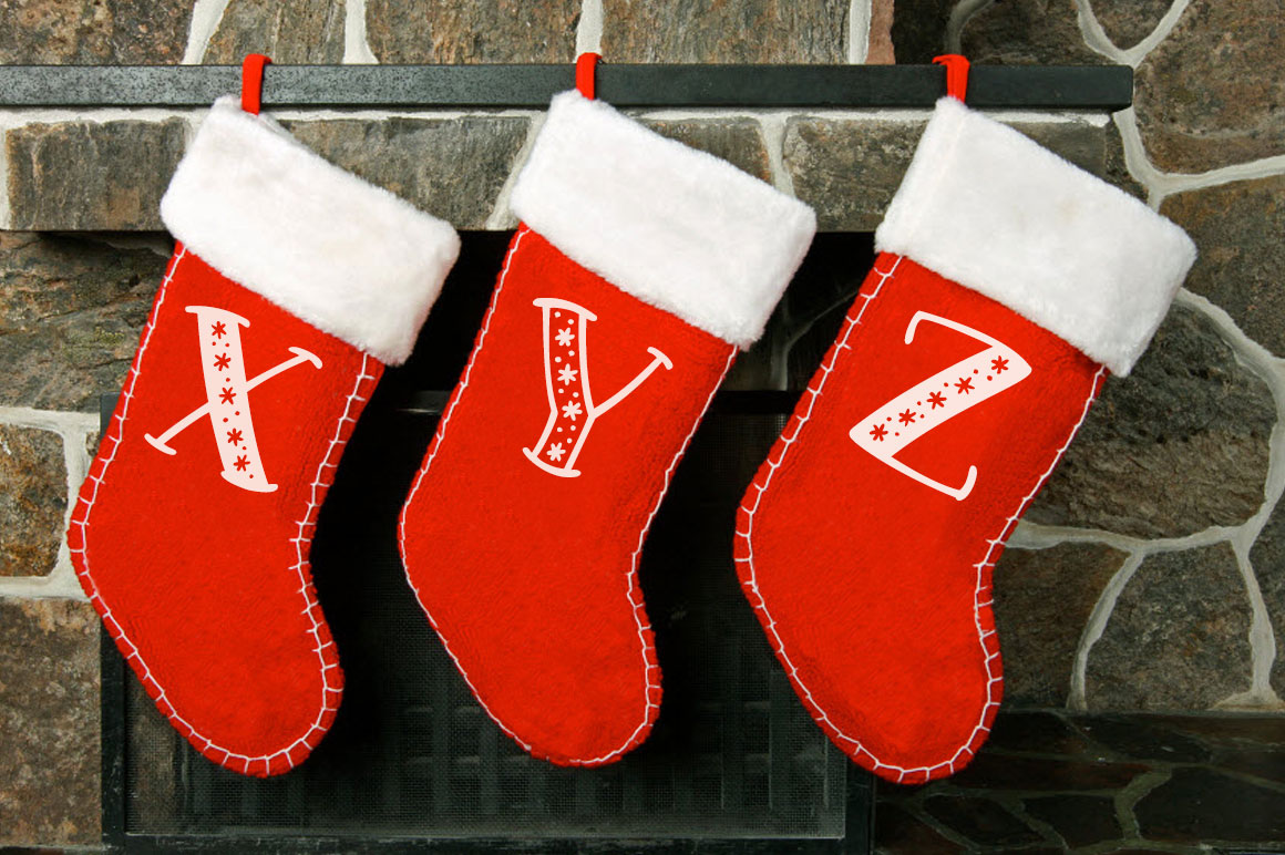 Big Freeze & Big Frost - Christmas stocking monogram idea mockup