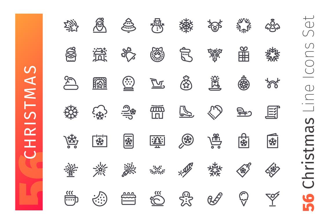 Christmas Line Icons Set example image 2