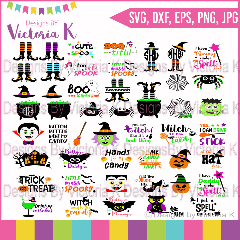 Halloween Bundle, Pumpkins, Witches, Ghosts, Spooky,  SVG, DXF, EPS Files, Cricut Design Space, Vinyl Cut Files example image 1