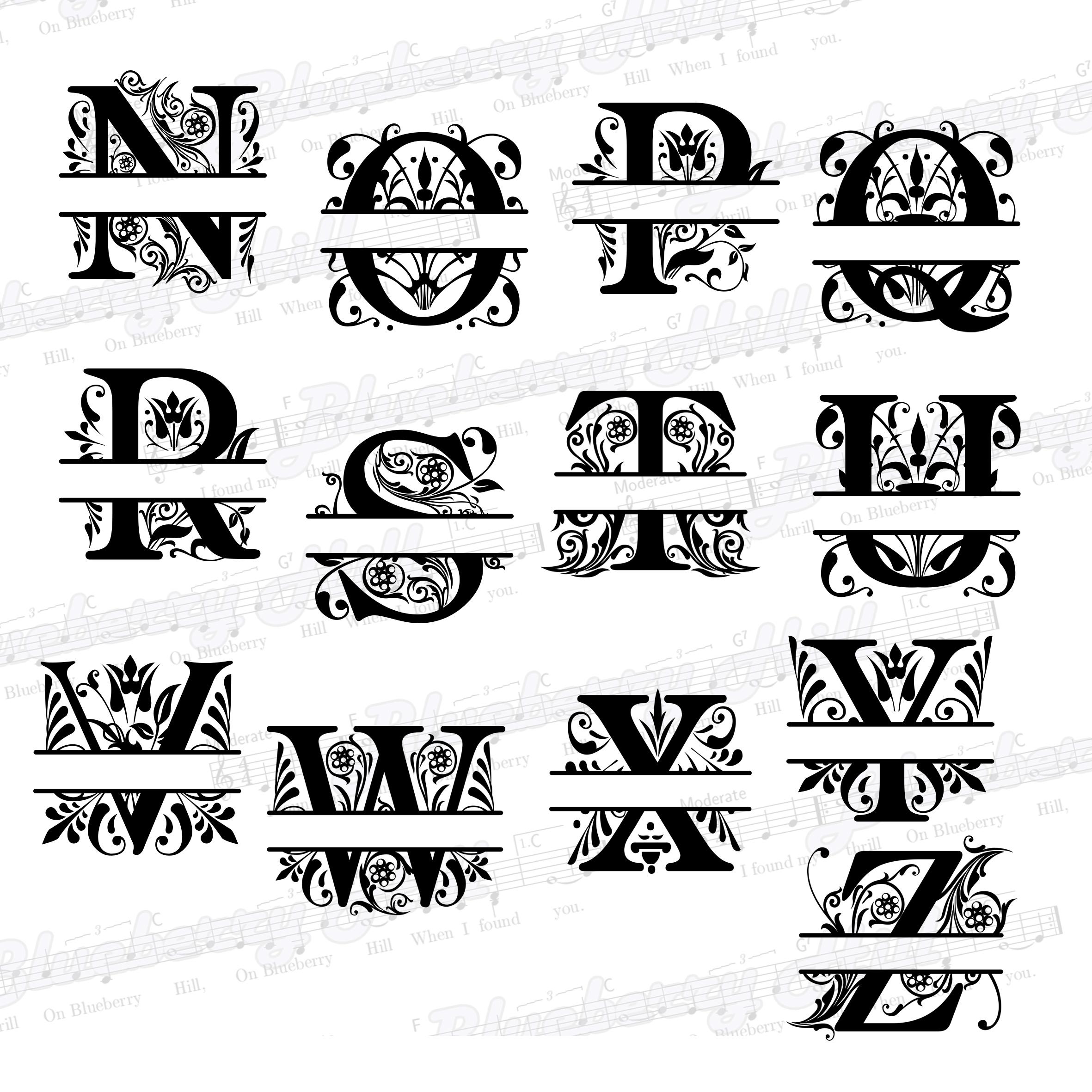 Regal Split Monogram Letters SVG - Regal Letters cut files - Regal Split Monogram Letters - Regal Split - DIY- Svg - Dxf - Eps - Png - Jpg - Pdf example image 4