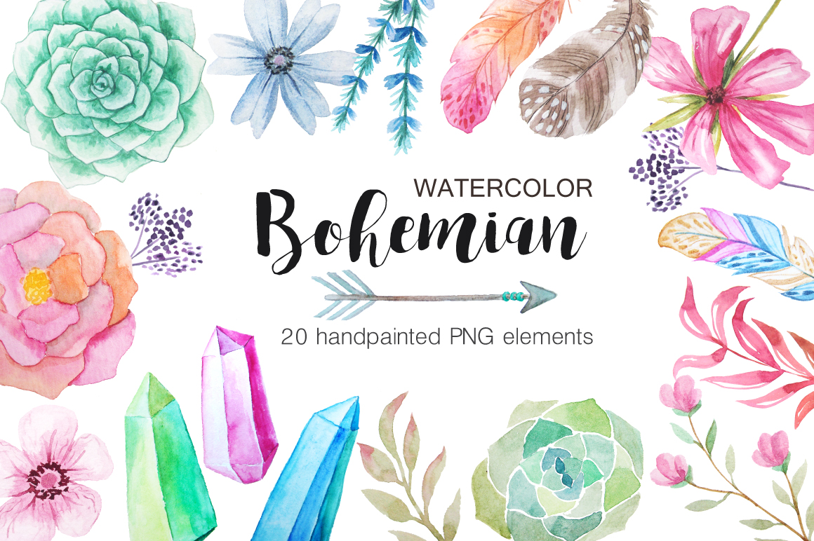Summer Watercolor Floral BUNDLE example image 3