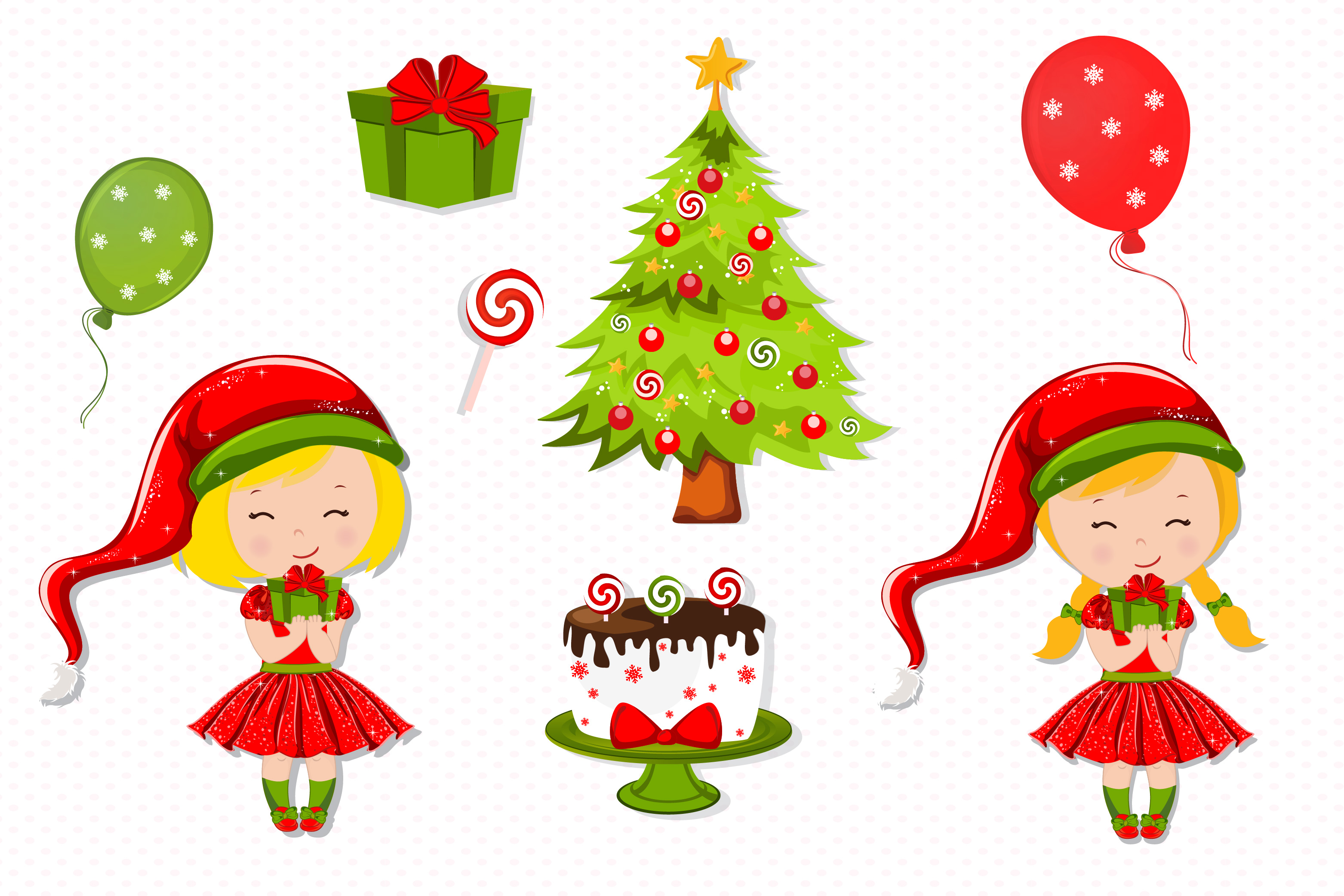 Christmas girl illustration, Christmas digital papers example image 2