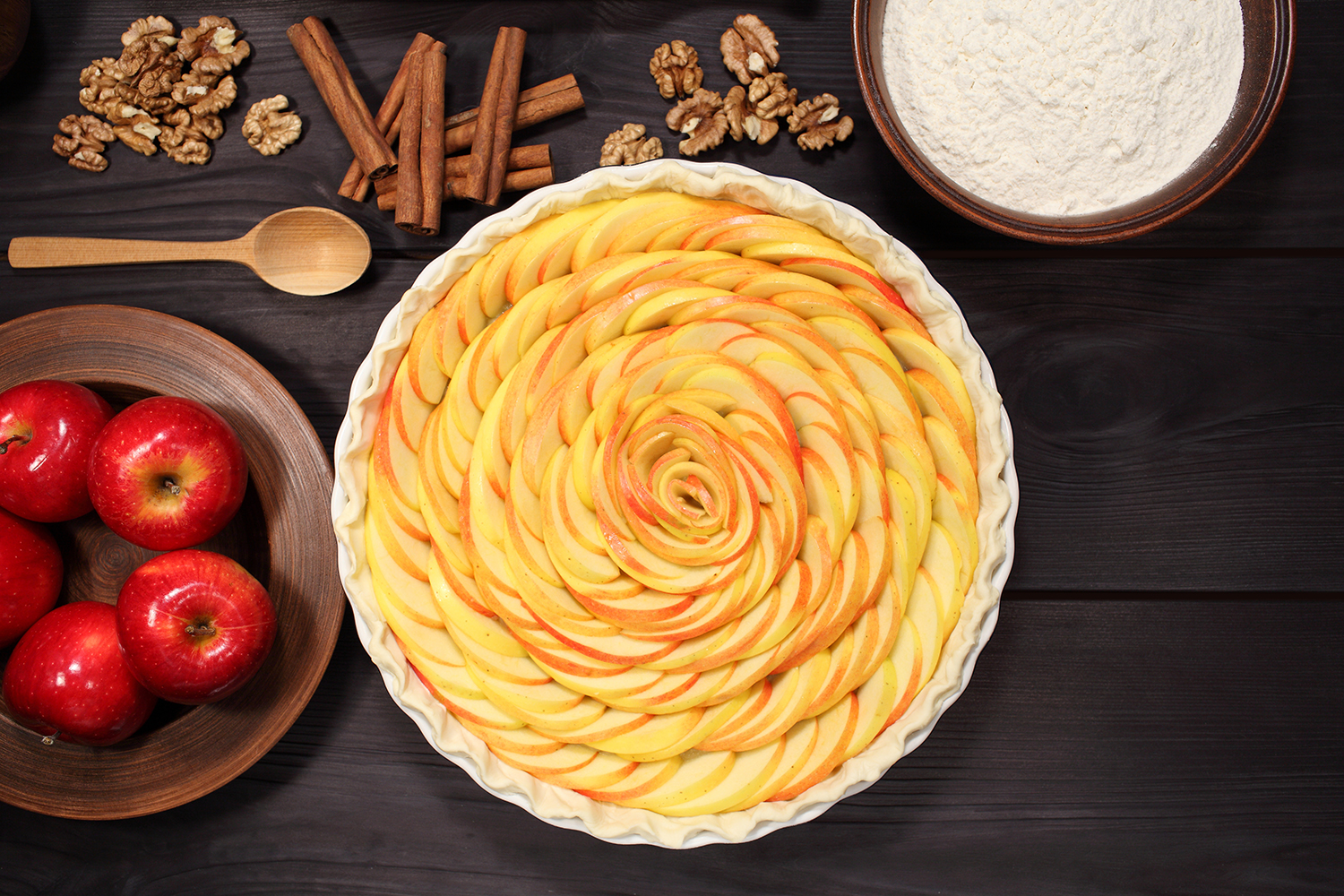 Set 12 photos Apple Pie and raw ingredients for baking. Sweet food series. Dessert. Top view example image 8