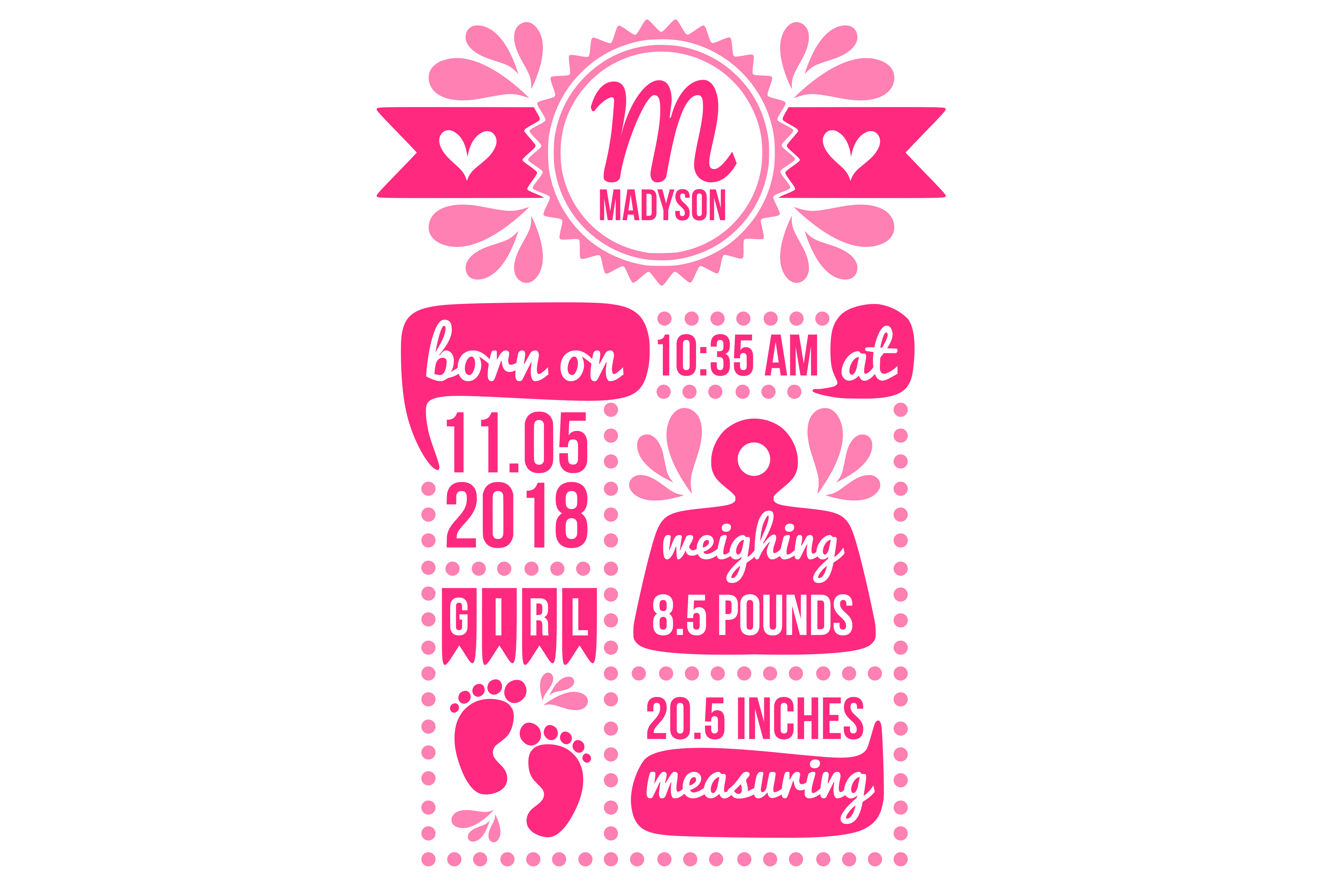 Birth stats svg, birth stats template, birth announcement svg, baby stats svg, newborn svg, welcome baby svg, cricut, silhouette example image 1