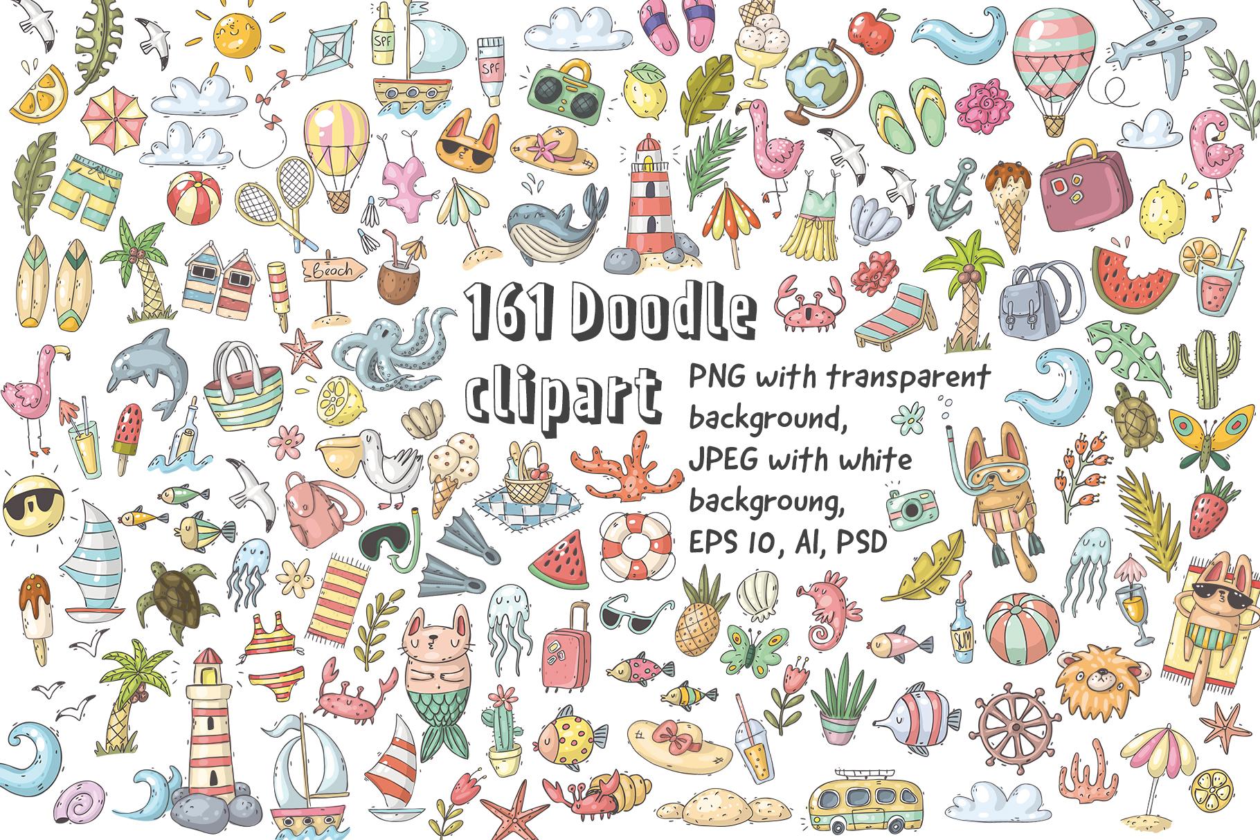 Big set of summer doodles example image 2