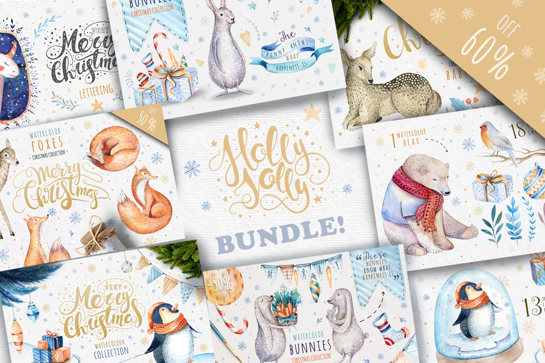 60%off Watercolour Christmas BUNDLE! example image 1