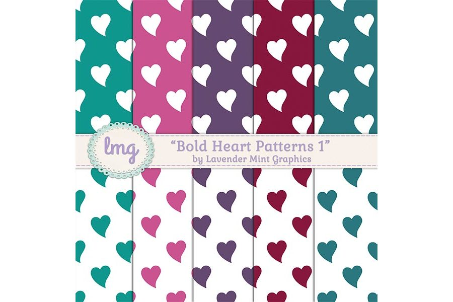 Bold Heart Patterns 1 example image 1