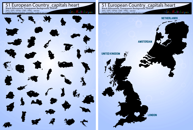 51 european country capitals map silhou design bundles 51 european country capitals map silhouette vector european country map europe map silhouette gumiabroncs Choice Image