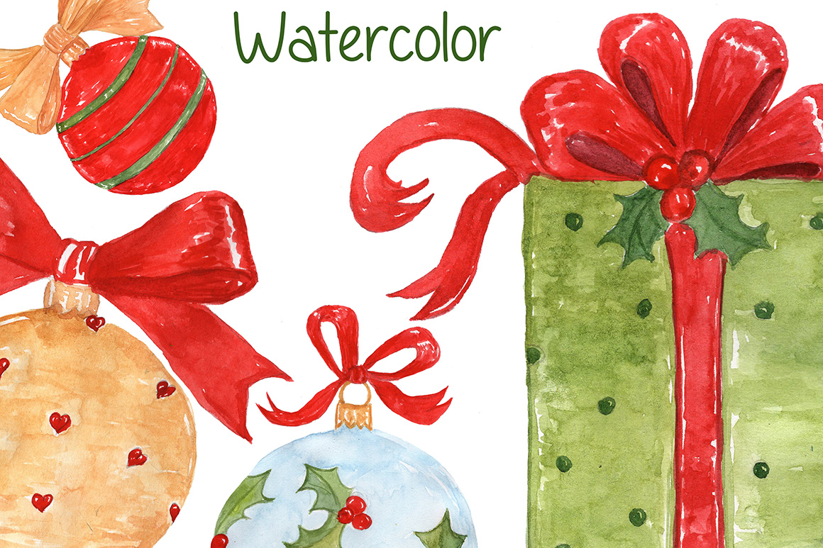 Watercolor Christmas kids clipart example image 4