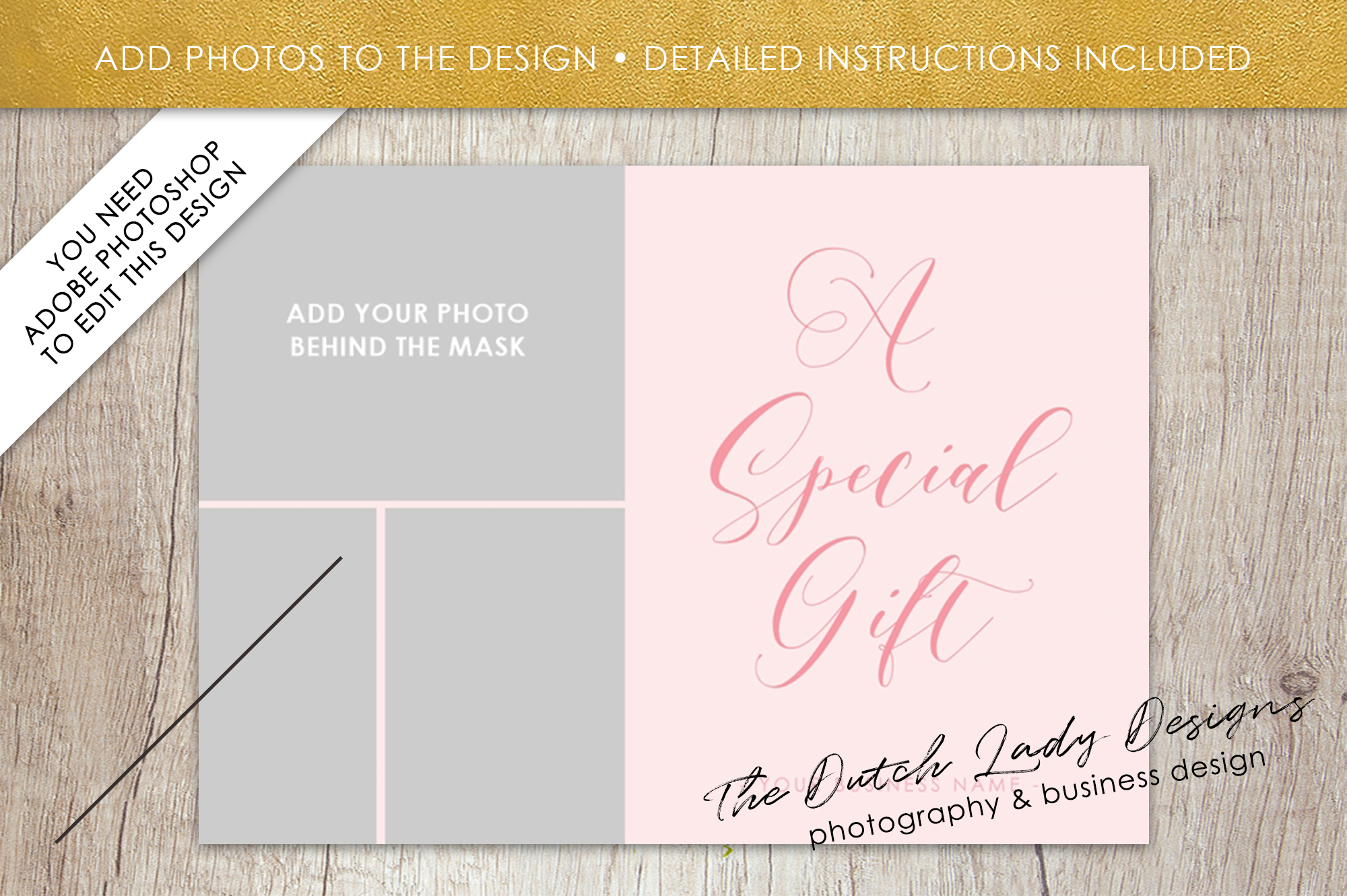 Photo Gift Card Template For Adobe Photoshop Layered Psd Template Design 2