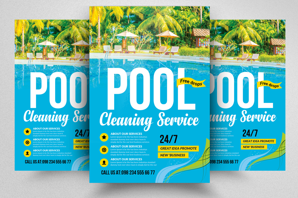10 Pool Cleaning Service Flyers Bundle Design Bundles