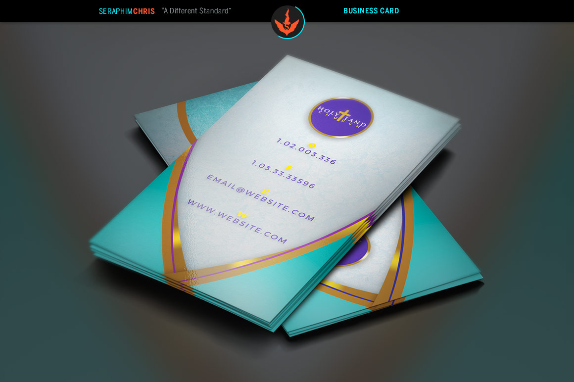 Royal Teal Church Business Card Template example image 2