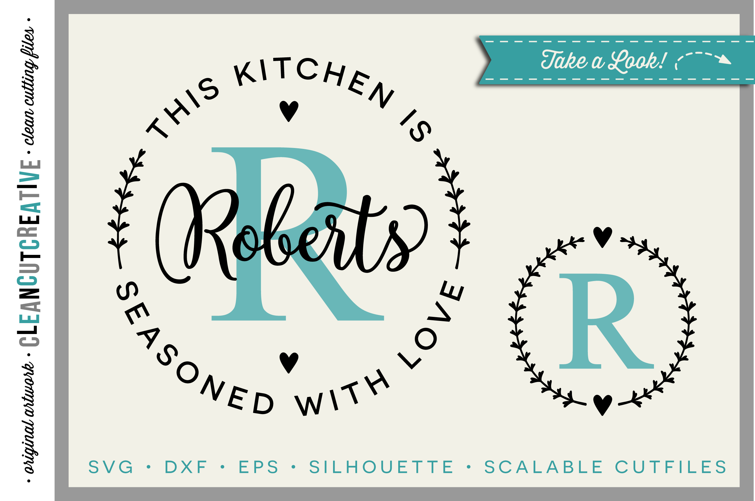 DIY personalize SVG Kitchen Seasoned with Love monogram frame- SVG DXF EPSPNG - Cricut & Silhouette - clean cutting files example image 1