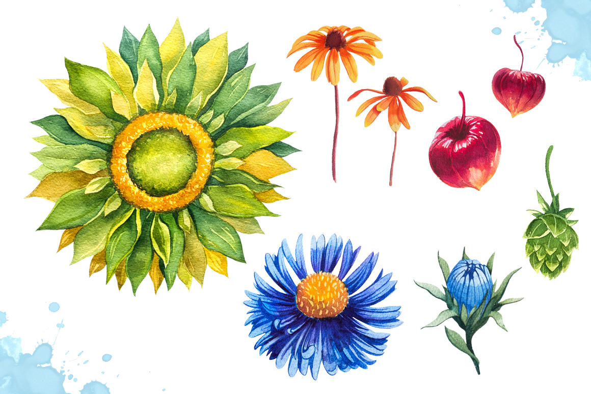 Autumn leaves. Watercolor set. example image 11