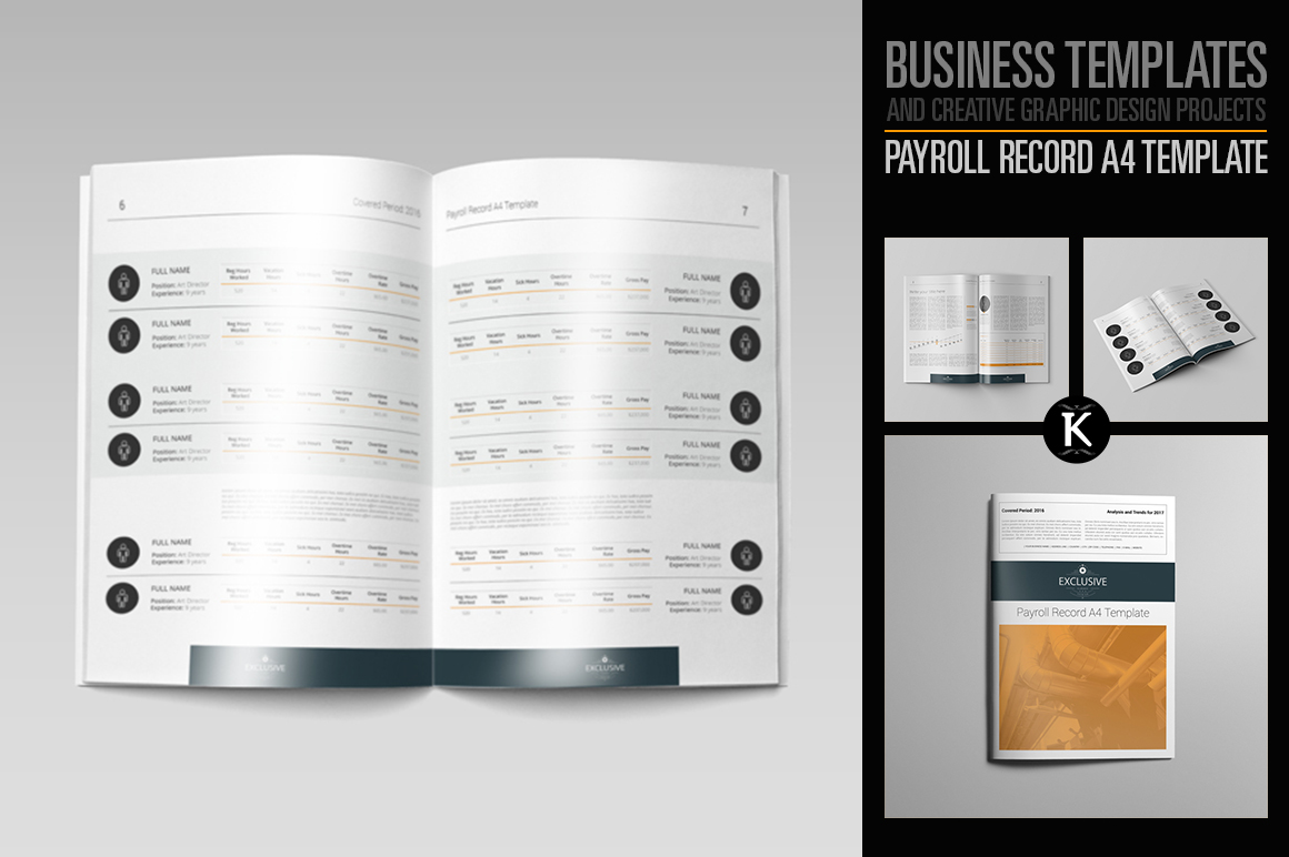 Payroll Record A4 Template by Keboto | Design Bundles