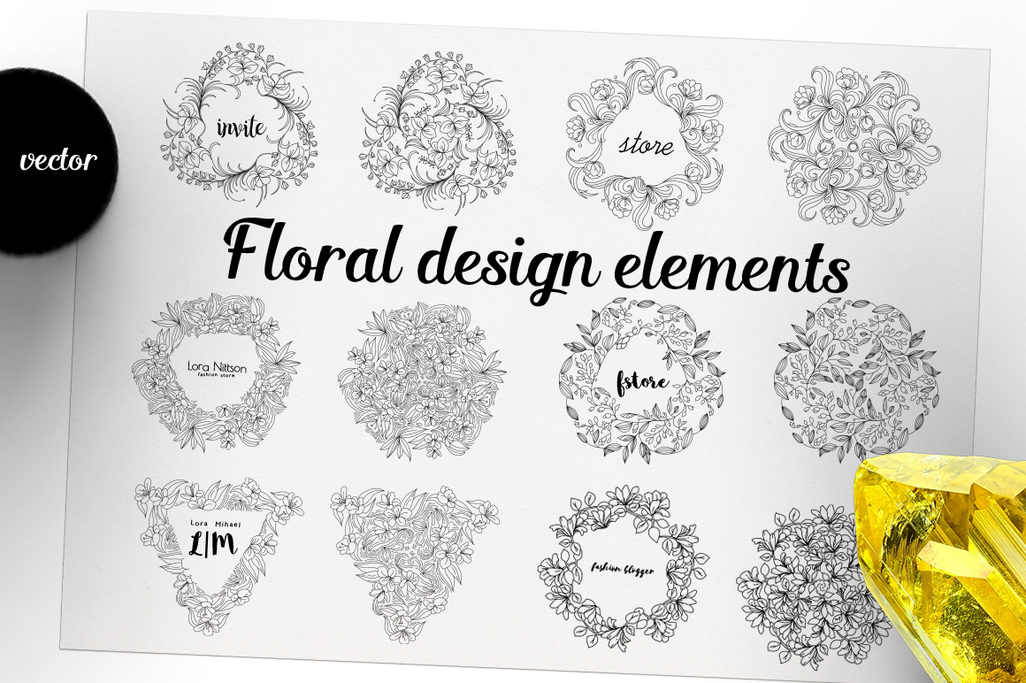 12 Floral design elements/ Pro example image 2