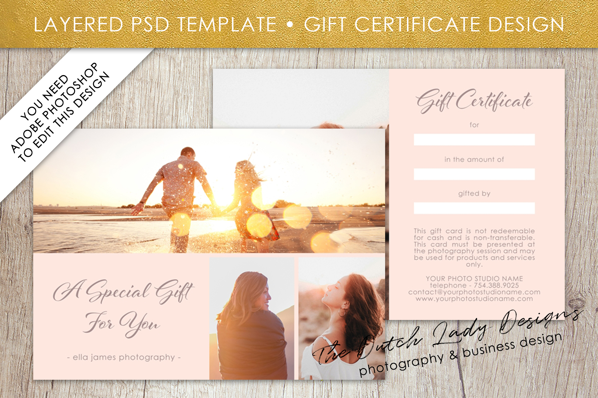 photo gift card template for adobe photoshop layered psd template design 1 example
