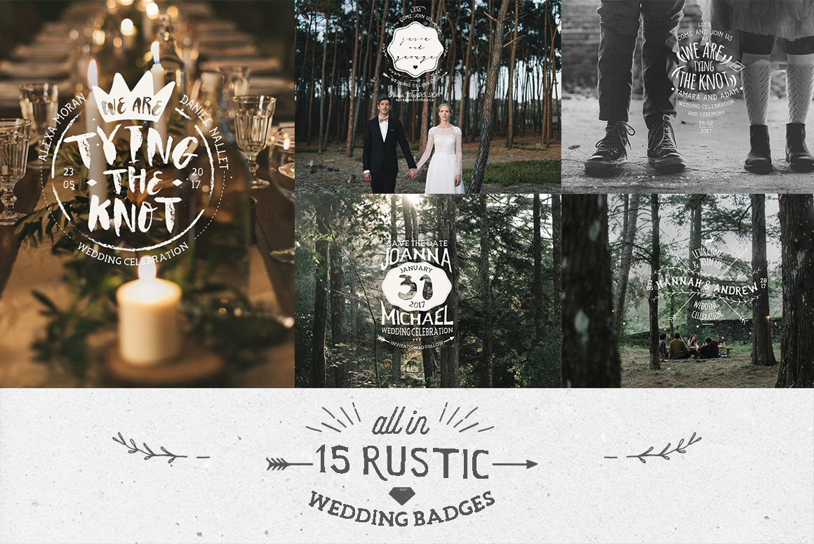 Rustic Wedding Badges & Sticker example image 3