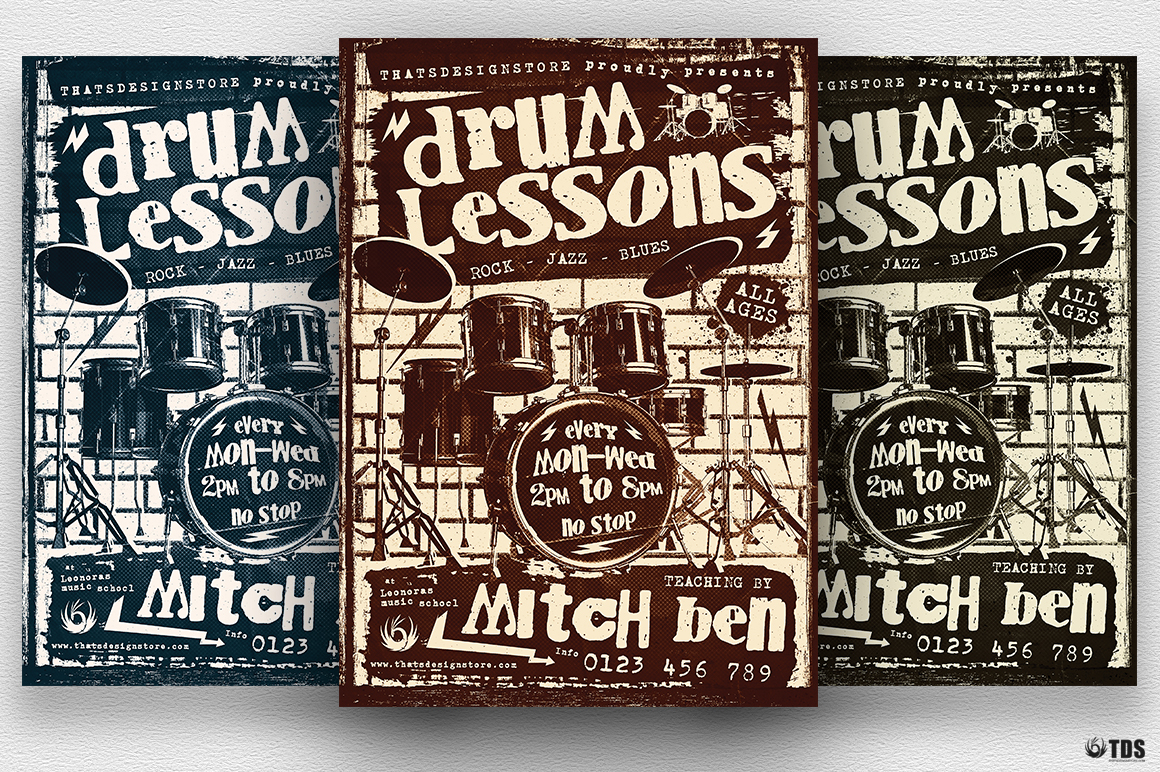Drum Lessons Flyer Template V1 example image 3