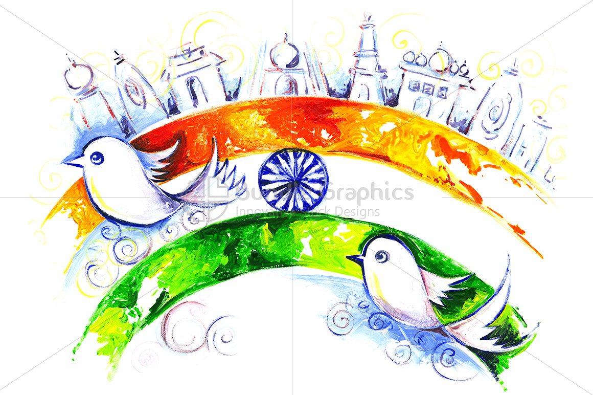 Creative Watercolor Indian Flag Background For Indian: Independence Day Of India Handmade Pain