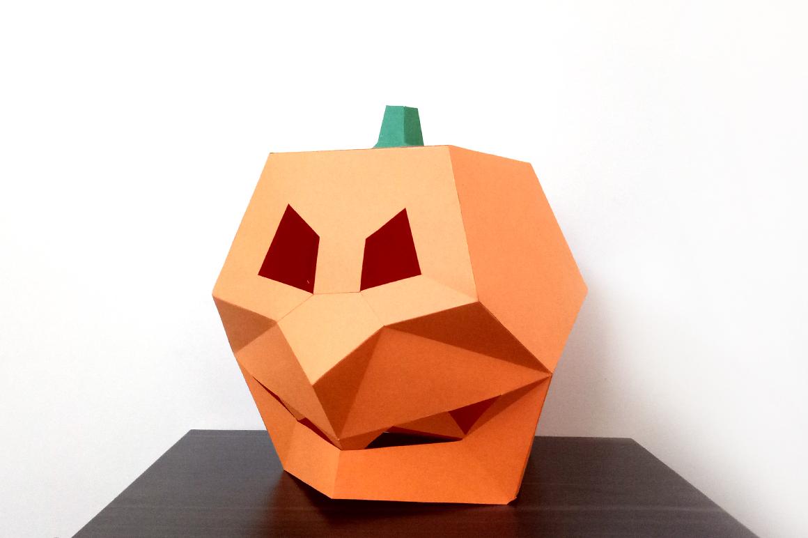 DIY Pumpkin Mask - 3d papercraft example image 2