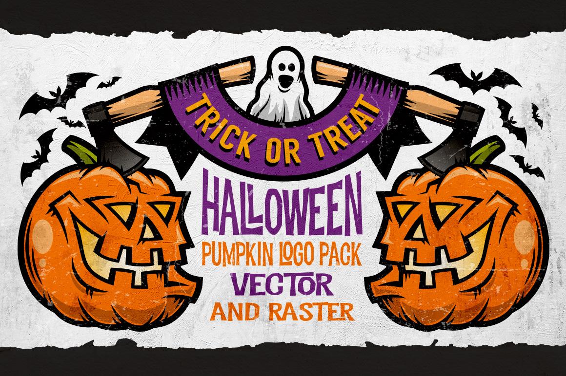 Halloween Pumking Logo Set example image 1