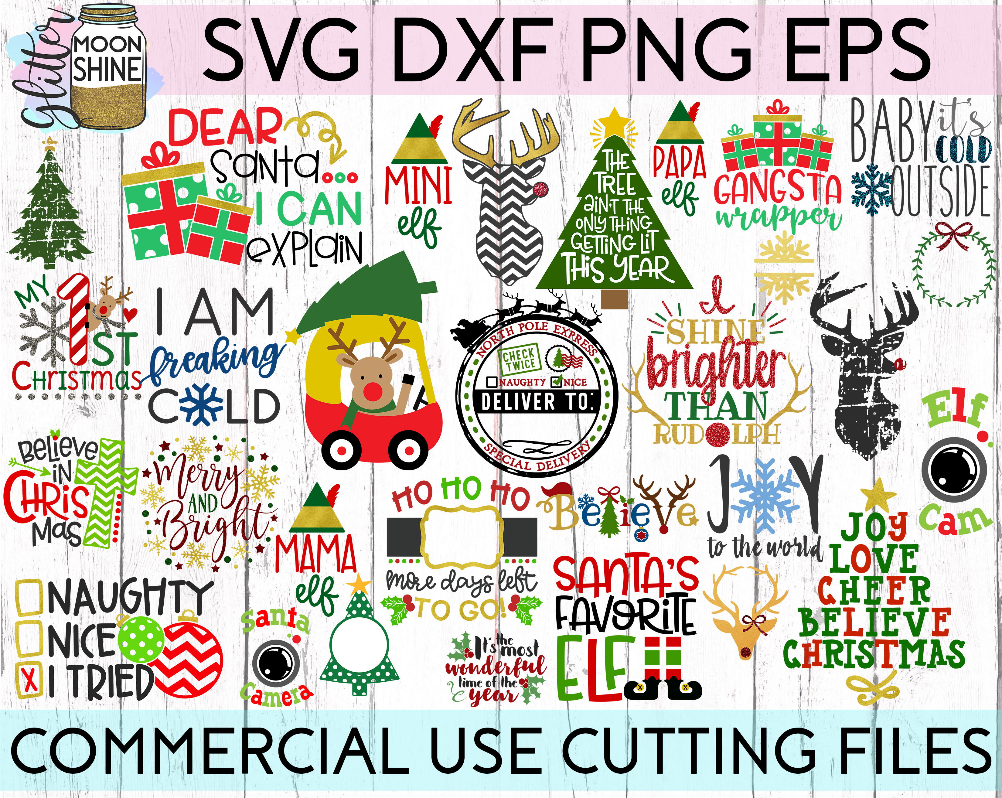 HUGE Christmas Bundle SVG DXF PNG EPS Cutting Files example image 1