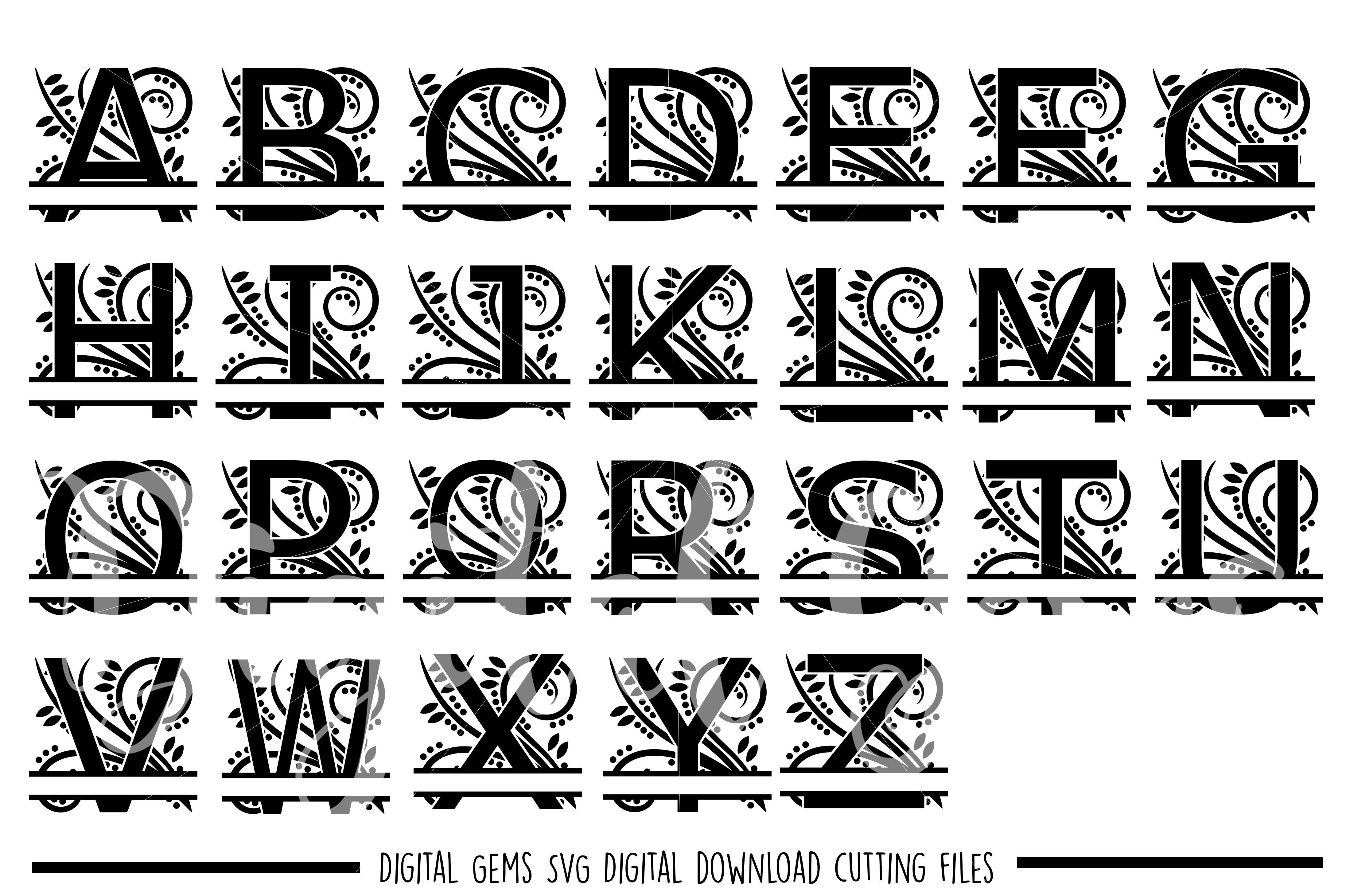 Regal Split Alphabet SVG / PNG / EPS / DXF files example image 1