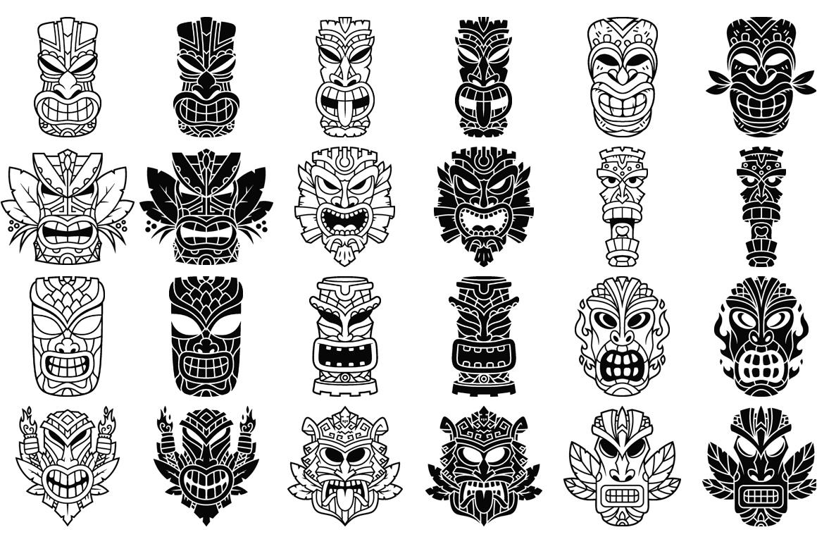 Tiki Head Illustrations Set example image 4