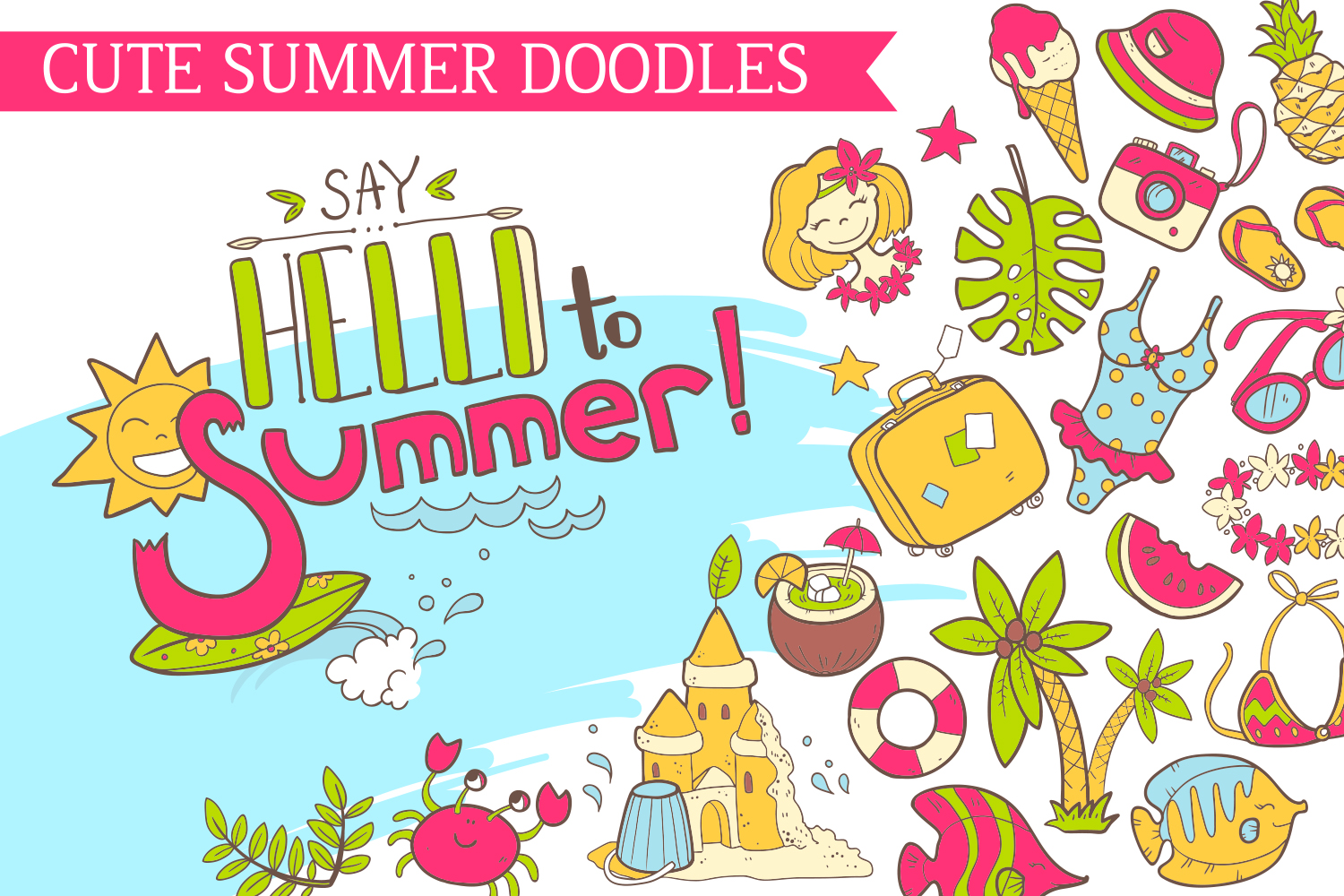 Summer vector doodles collection. example image 1