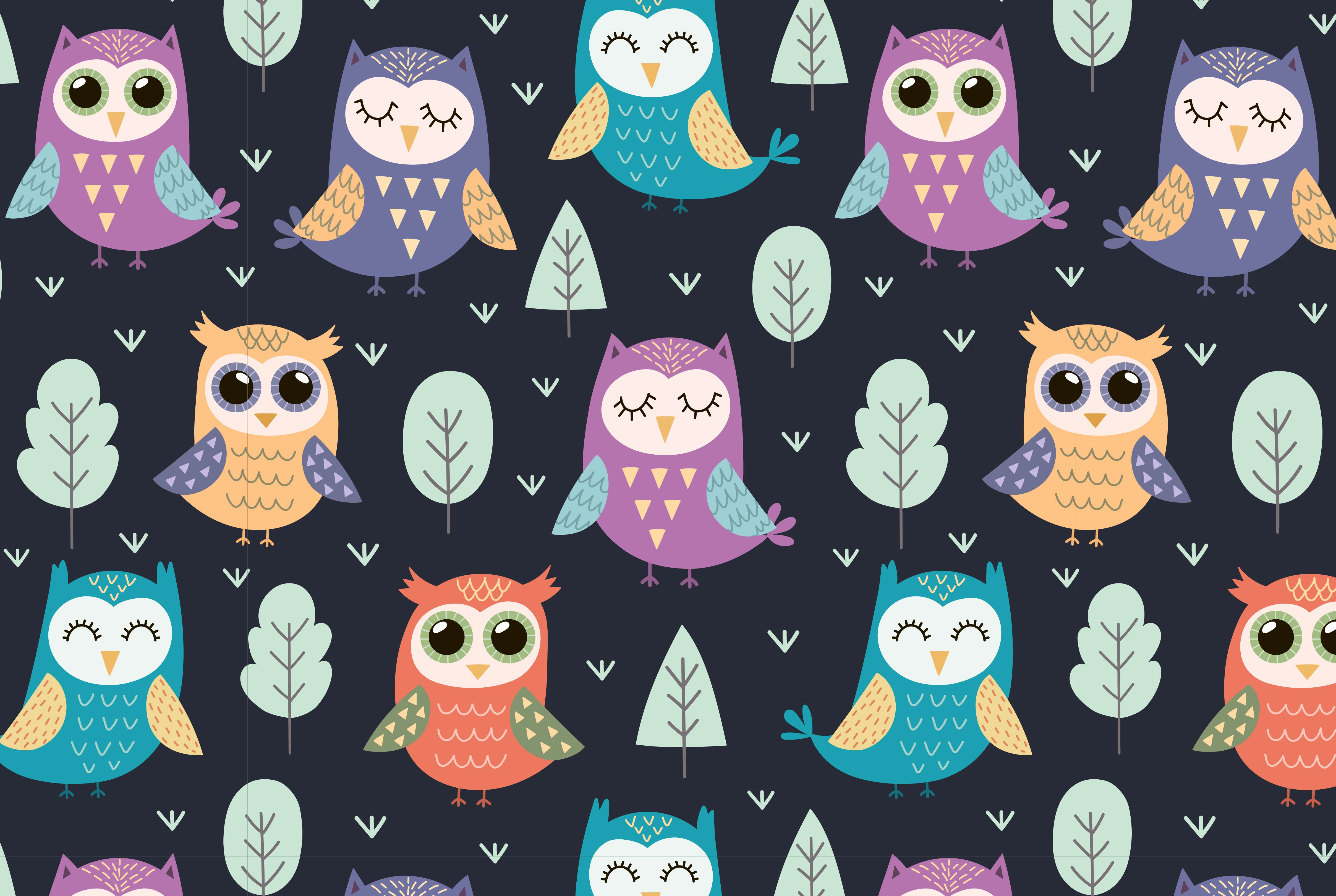 Owl Tales: seamless pattern & elements example image 3