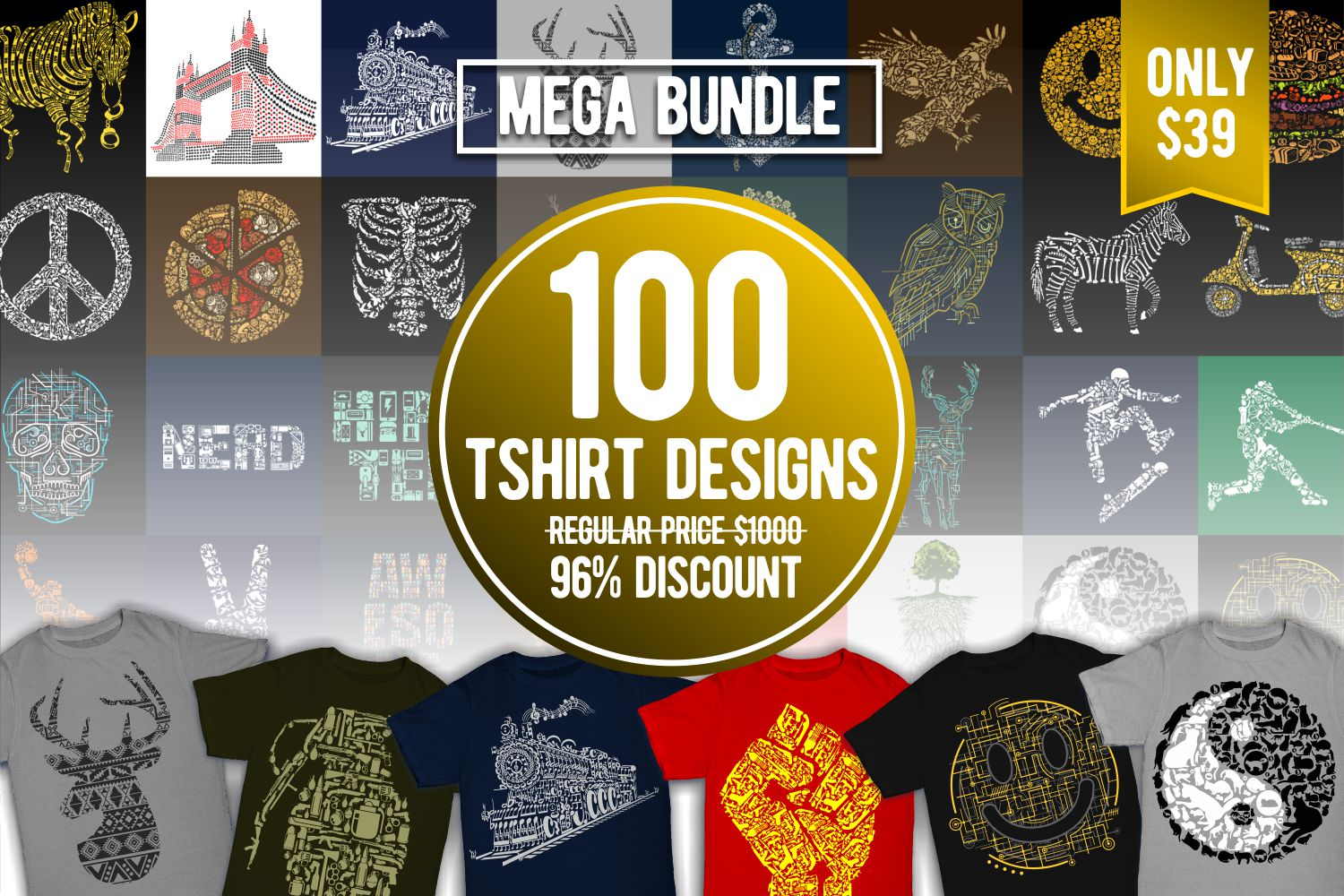 Tshirt Designs Mega Bundle Pack 1 + Pack 2 example image 1