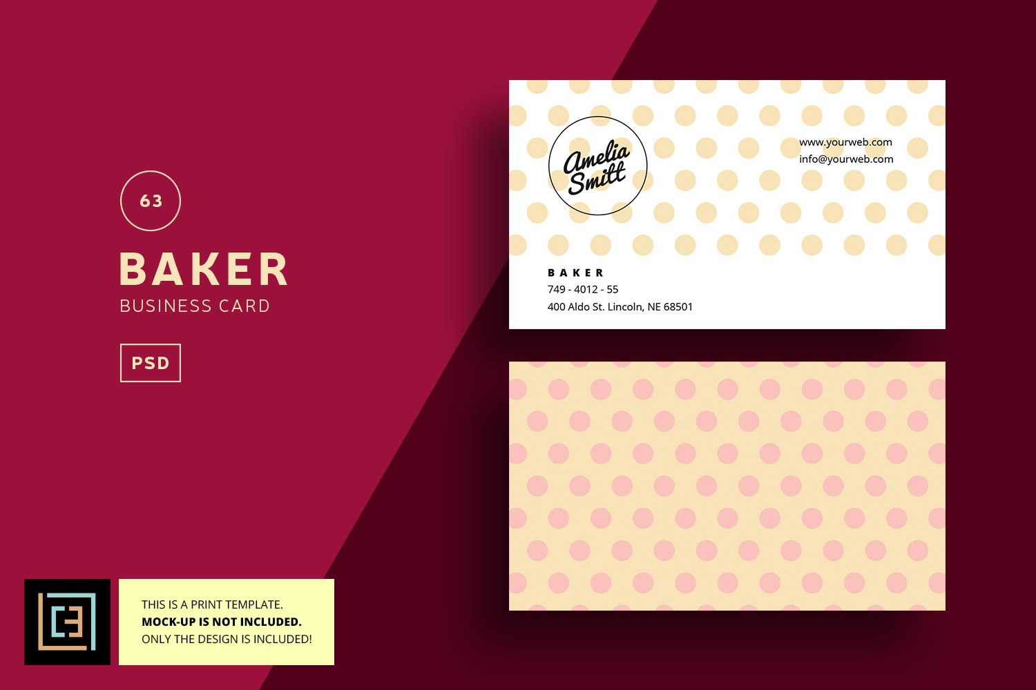 Baker business card bc063 by cooledit design bundles baker business card bc063 example image 1 reheart Choice Image