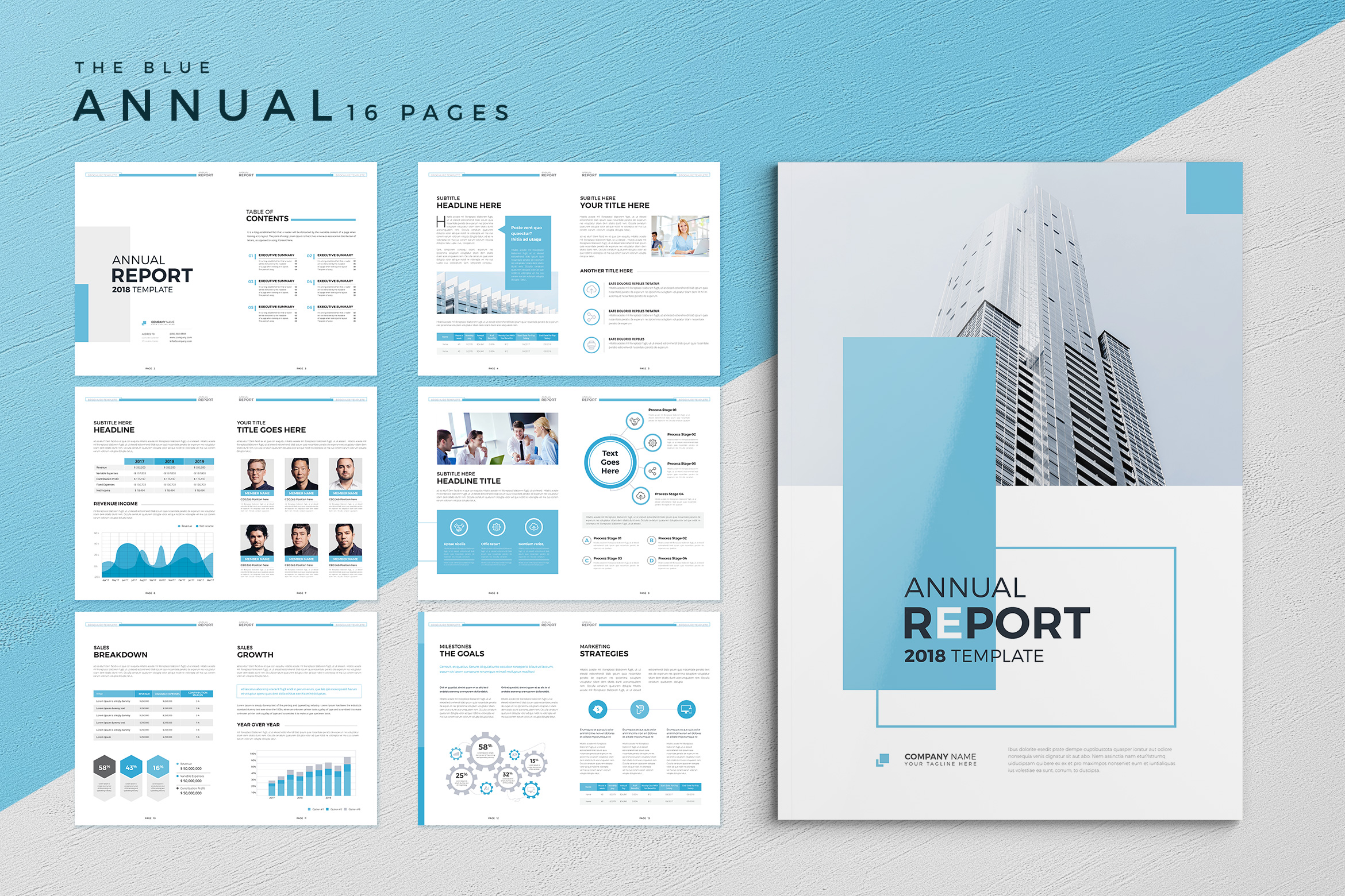 The Blue Annual Report By Rashad Design Bundles