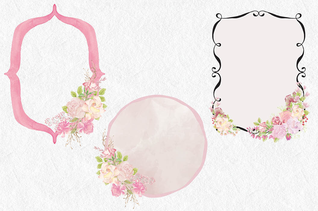 Wedding clip art bundle in blush roses example image 6