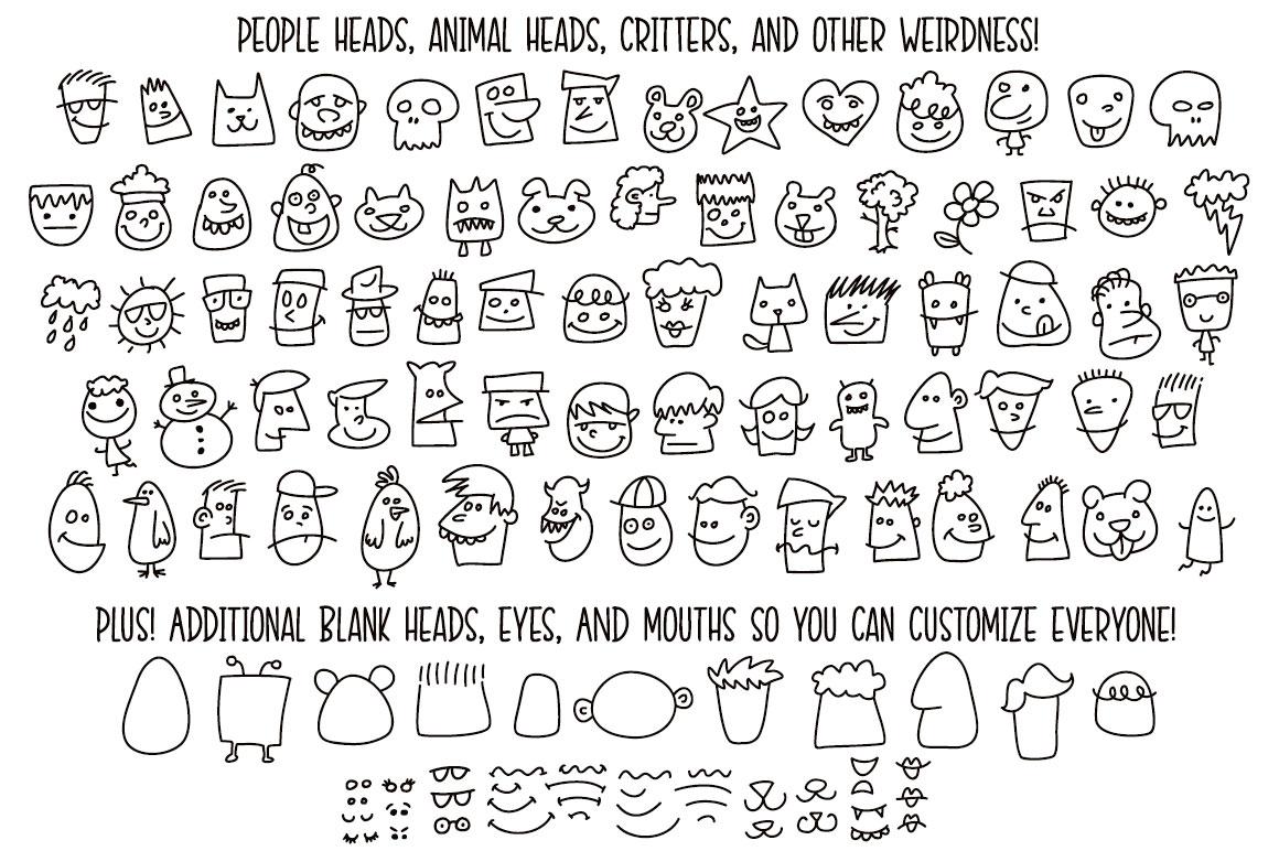 Kookyheads: a dingbat doodle font! example image 2