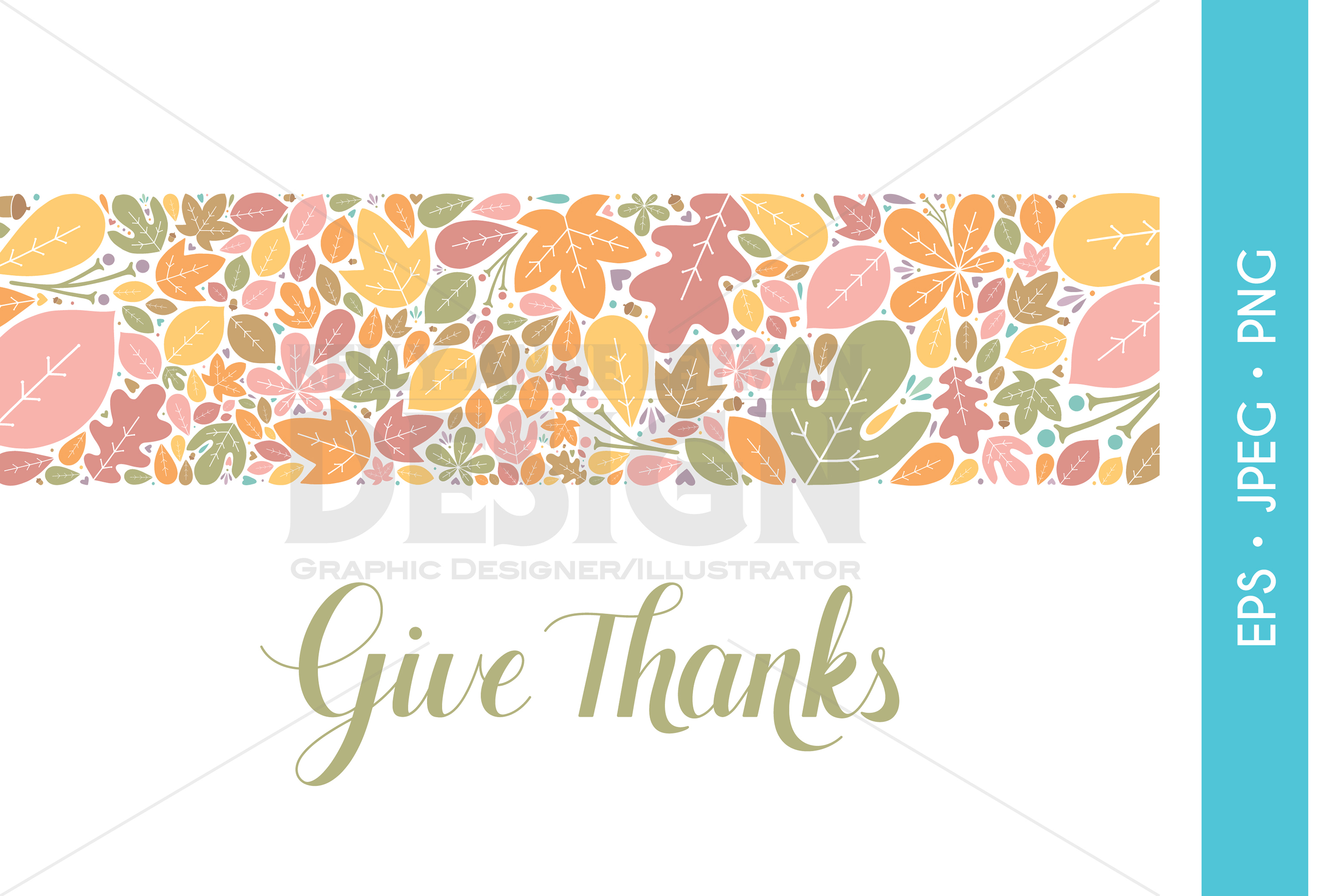 Give Thanks Digital Fall Banner, Autumn Party Invitation Clipart, Leaf
