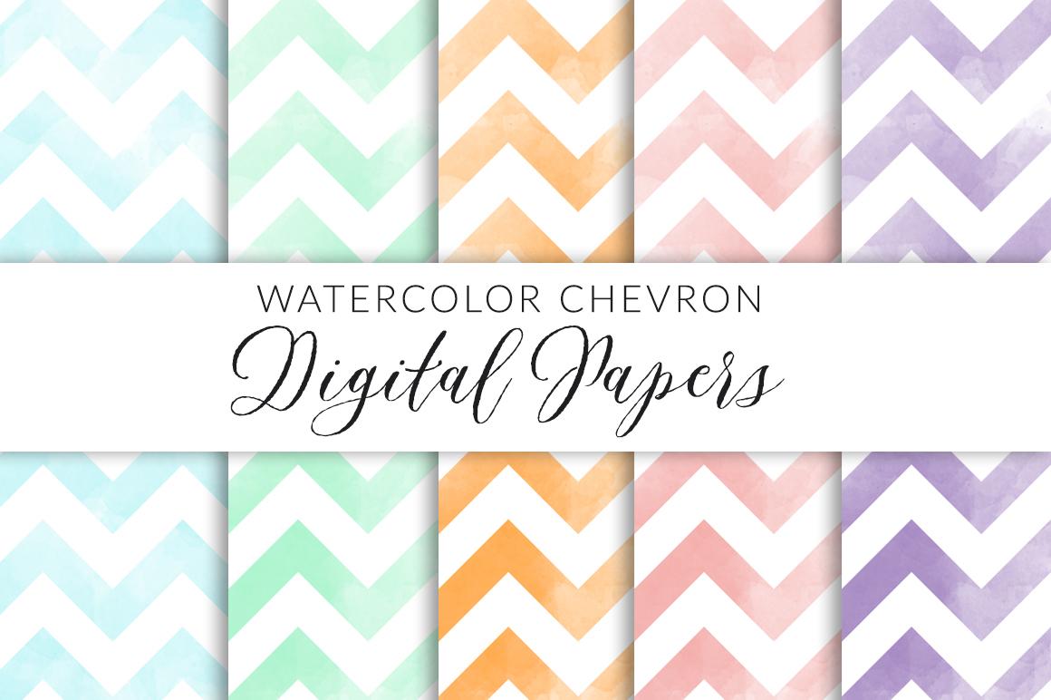 Watercolor Chevron Digital Paper example image 1