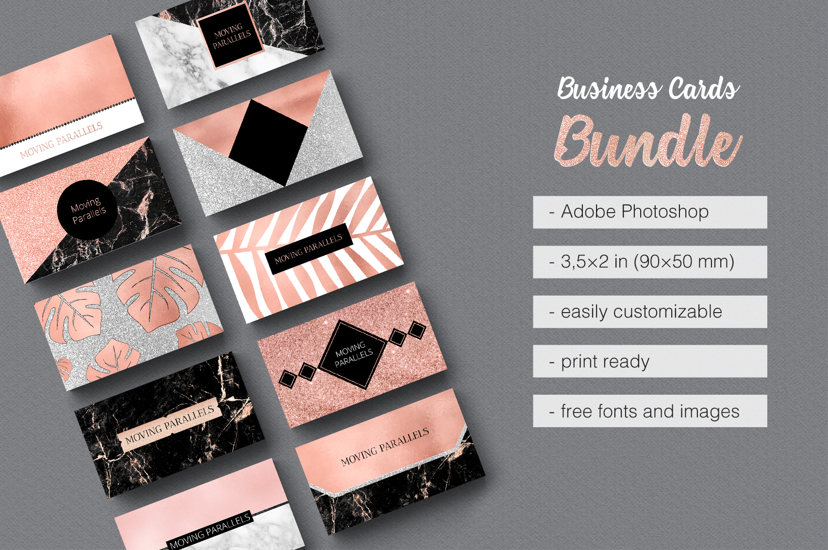 Rose Gold Marble Business Cards Bundle example image 1