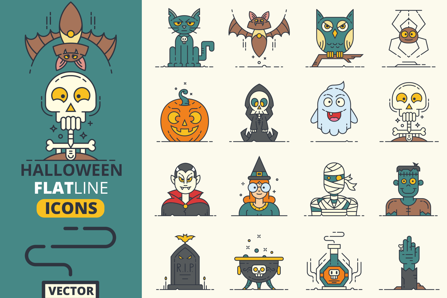 Halloween Flat Line Icons Vol.1 example image 1