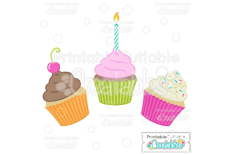 Birthday Cupcakes SVG Cut File & Clipart