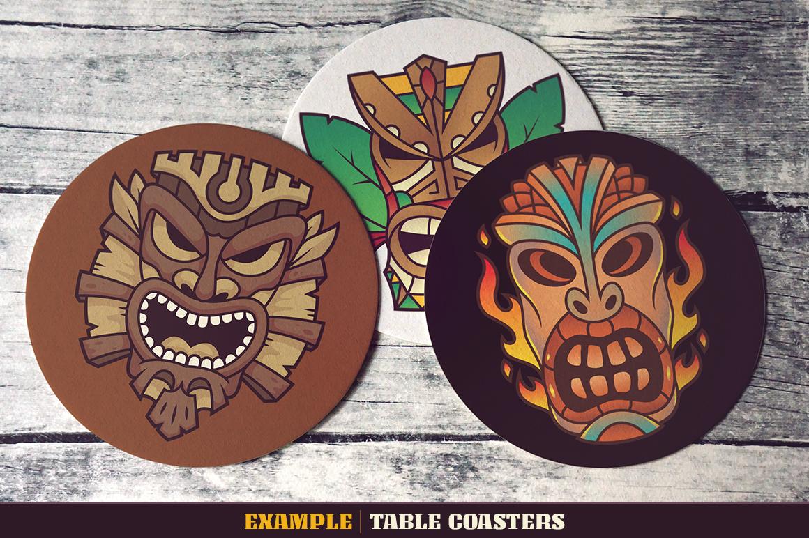 Tiki Head Illustrations Set example image 13